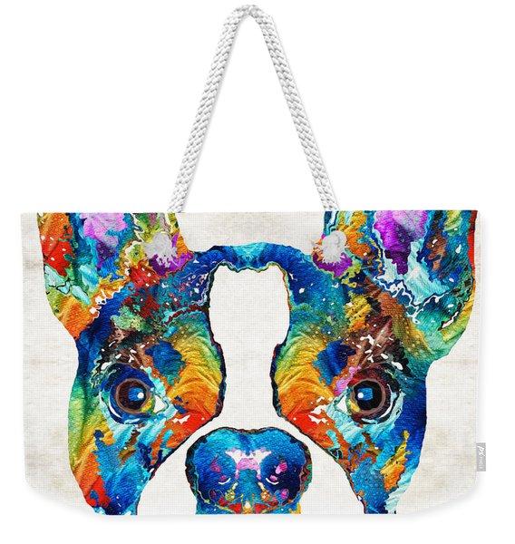 Colorful Boston Terrier Dog Pop Art - Sharon Cummings Weekender Tote Bag