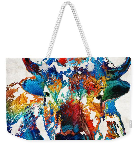 Colorful Buffalo Art - Sacred - By Sharon Cummings Weekender Tote Bag