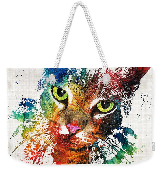 Colorful Cat Art By Sharon Cummings Weekender Tote Bag
