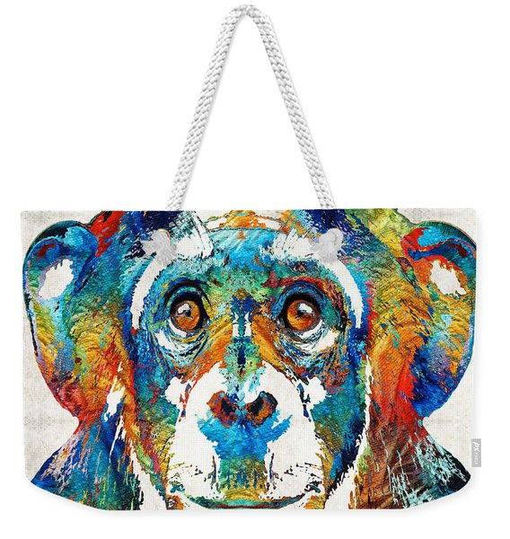 Colorful Chimp Art - Monkey Business - By Sharon Cummings Weekender Tote Bag