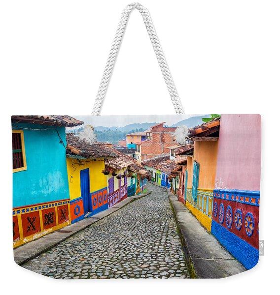 Colorful Cobblestone Street Weekender Tote Bag
