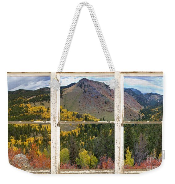 Colorful Colorado Rustic Window View Weekender Tote Bag