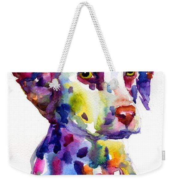Colorful Dalmatian Puppy Dog Portrait Art Weekender Tote Bag