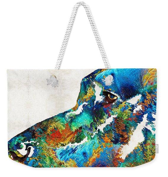 Colorful Dog Art - Loving Eyes - By Sharon Cummings  Weekender Tote Bag