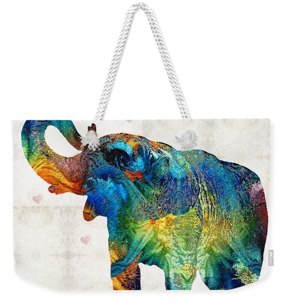 Colorful Elephant Art - Elovephant - By Sharon Cummings Weekender Tote Bag