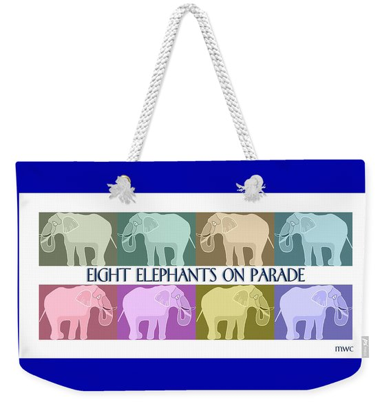 Weekender Tote Bag featuring the painting Pastel Elephants On Parade by Marian Cates