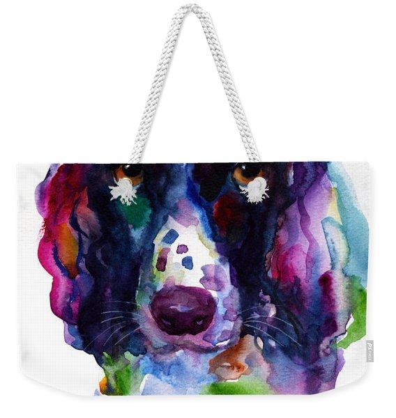 Colorful English Springer Setter Spaniel Dog Portrait Art Weekender Tote Bag