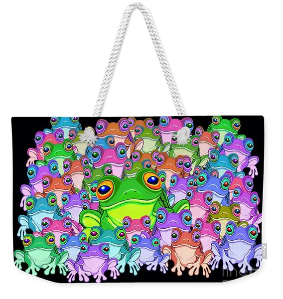 Colorful Froggy Family Weekender Tote Bag