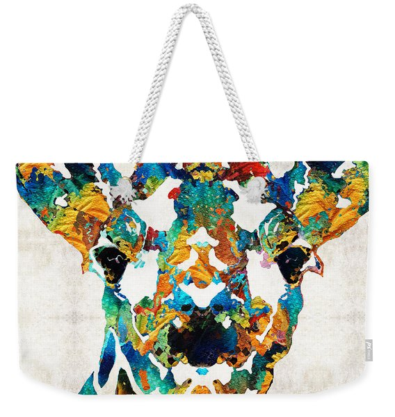 Colorful Giraffe Art - Curious - By Sharon Cummings Weekender Tote Bag