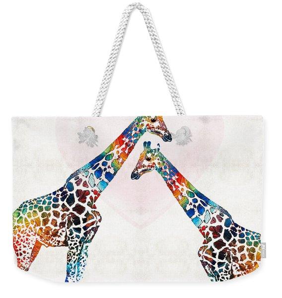 Colorful Giraffe Art - I've Got Your Back - By Sharon Cummings Weekender Tote Bag
