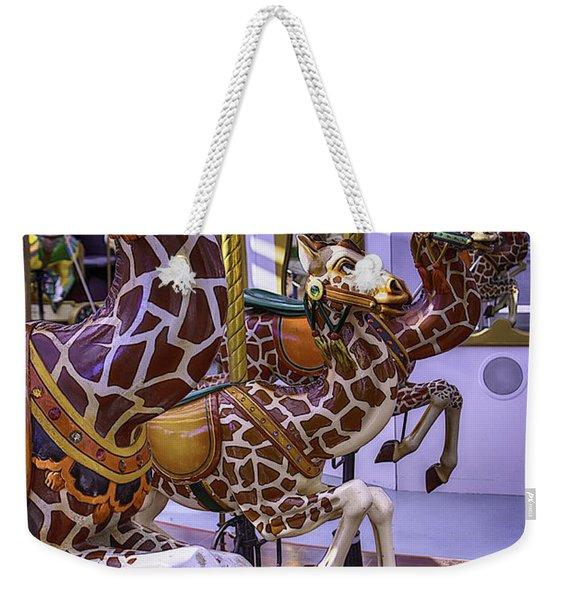 Colorful Giraffes Carrousel Weekender Tote Bag