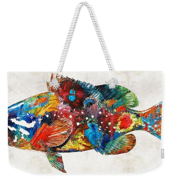 Colorful Grouper Art Fish By Sharon Cummings Weekender Tote Bag