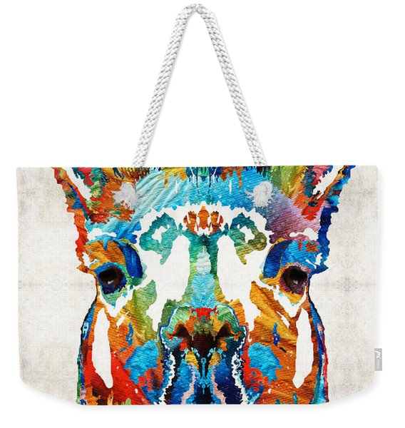 Colorful Llama Art - The Prince - By Sharon Cummings Weekender Tote Bag