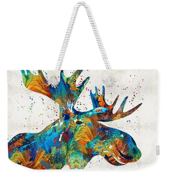 Colorful Moose Art - Confetti - By Sharon Cummings Weekender Tote Bag