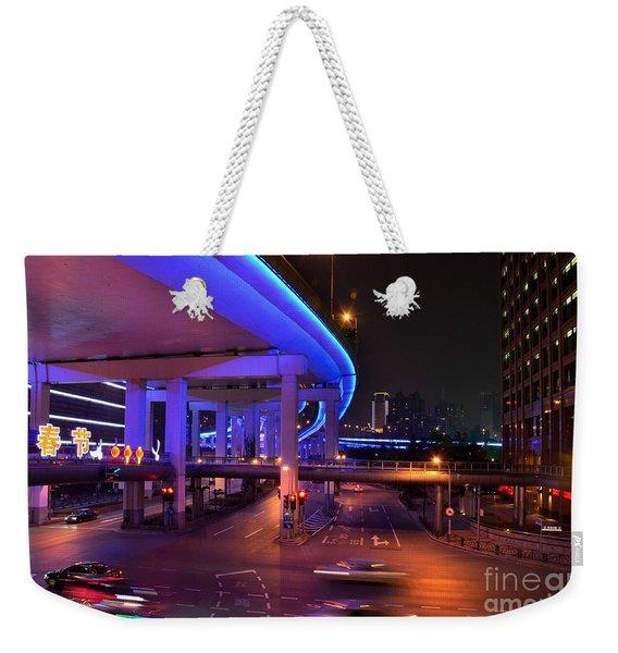 Colorful Night Traffic Scene In Shanghai China Weekender Tote Bag
