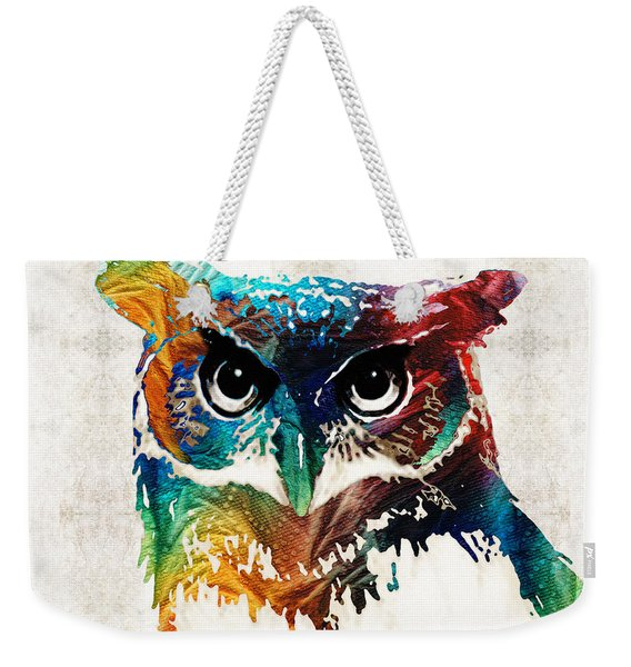 Colorful Owl Art - Wise Guy - By Sharon Cummings Weekender Tote Bag