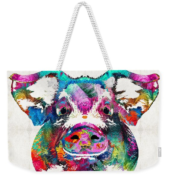 Colorful Pig Art - Squeal Appeal - By Sharon Cummings Weekender Tote Bag
