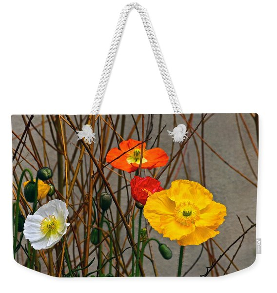 Colorful Poppies And White Willow Stems Weekender Tote Bag
