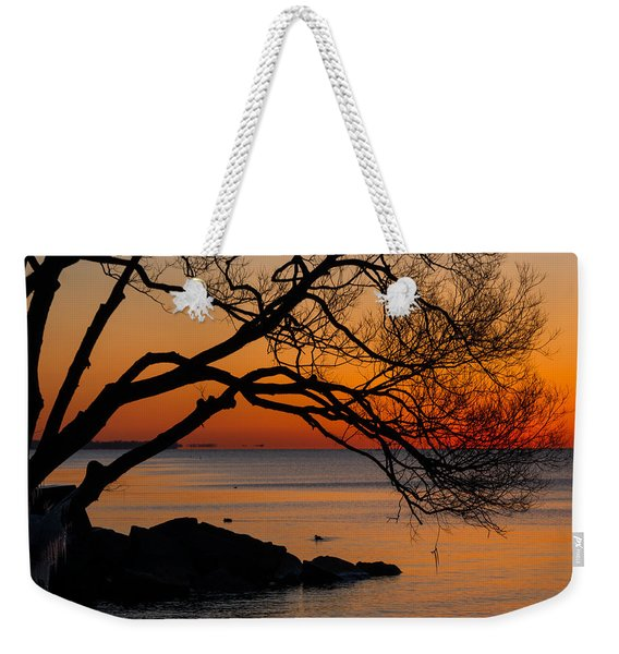 Colorful Quiet Sunrise On Lake Ontario In Toronto Weekender Tote Bag