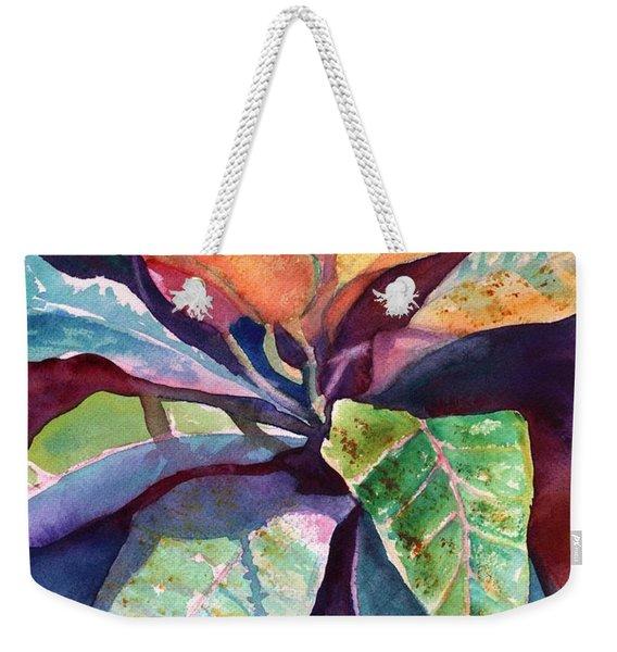 Colorful Tropical Leaves 3 Weekender Tote Bag