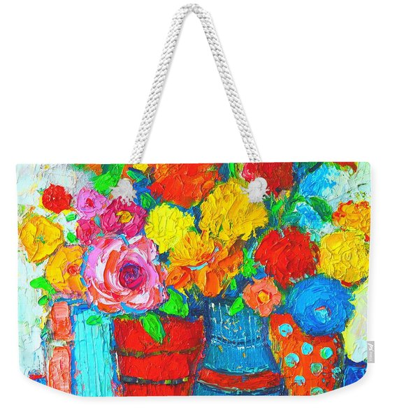 Colorful Vases And Flowers - Abstract Expressionist Painting Weekender Tote Bag
