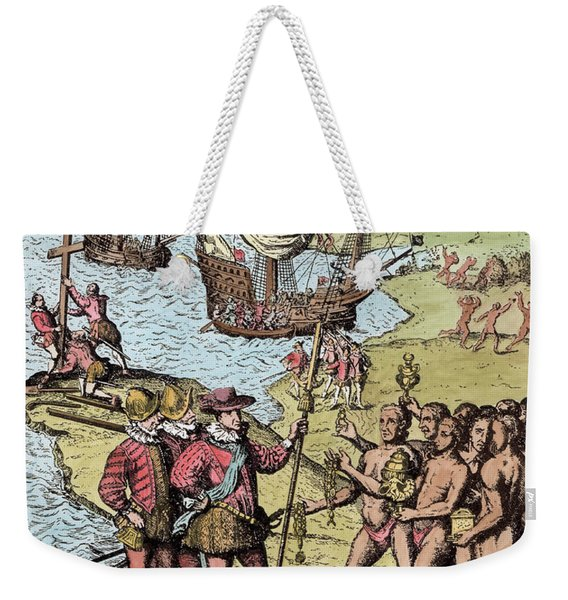 Columbus At Hispaniola, From The Narrative And Critical History Of America, Edited By Justin Weekender Tote Bag