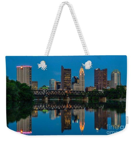 Columbus Ohio Night Skyline Photo Weekender Tote Bag