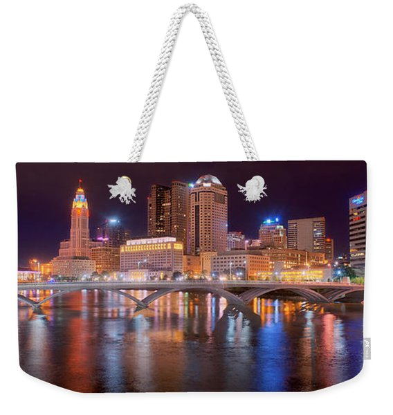 Columbus Skyline At Night Color Panorama Ohio Weekender Tote Bag