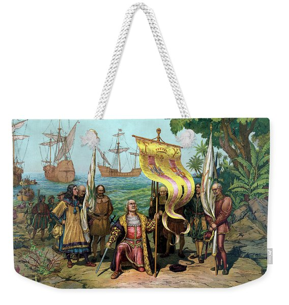 Columbus Taking Possession Of The New Country Weekender Tote Bag