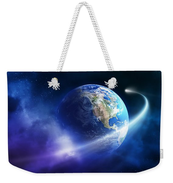 Comet Moving Passing Planet Earth Weekender Tote Bag