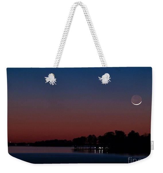 Comet Panstarrs And Crescent Moon Weekender Tote Bag