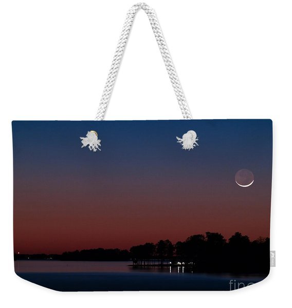 Comet Panstarrs And Crescent Moon Weekender Tote Bag