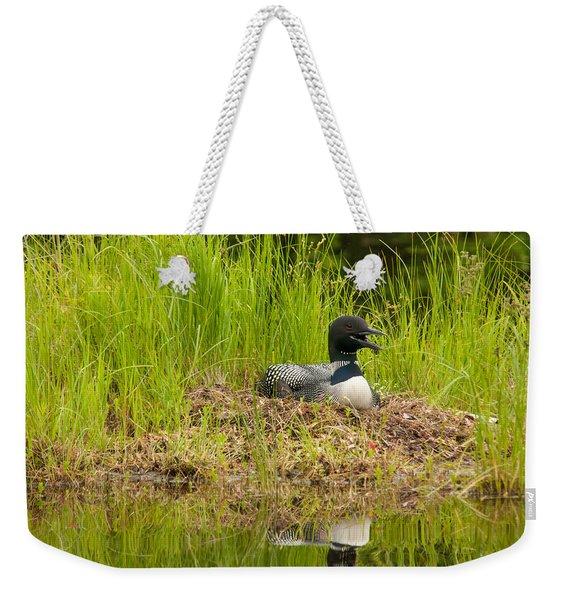Common Loon Nesting Weekender Tote Bag