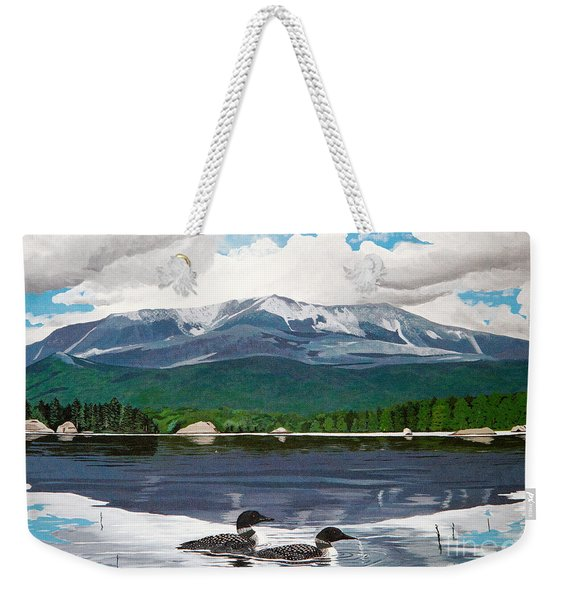 Common Loon On Togue Pond By Mount Katahdin Weekender Tote Bag