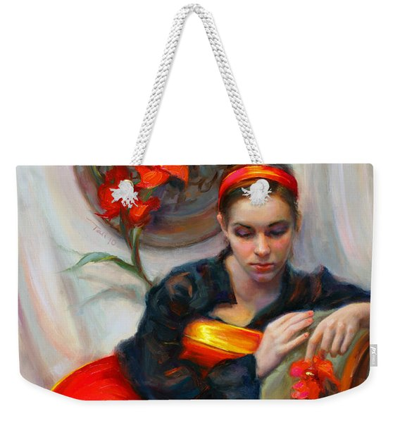 Weekender Tote Bag featuring the painting Common Threads - Divine Feminine In Silk Red Dress by Talya Johnson