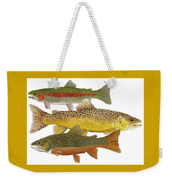 Common Trout  Rainbow Brown And Brook Weekender Tote Bag