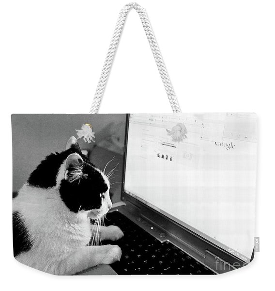 Computer Cat Weekender Tote Bag