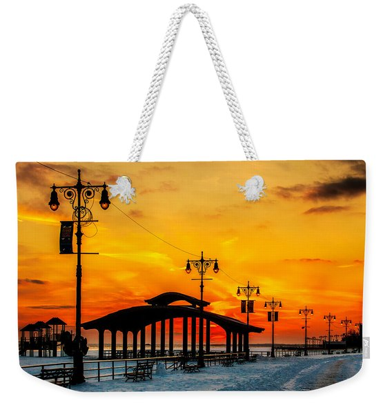 Coney Island Winter Sunset Weekender Tote Bag