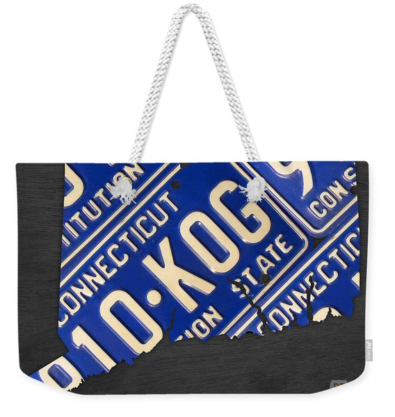Connecticut State Outline License Plate Map Edition 2 Weekender Tote Bag