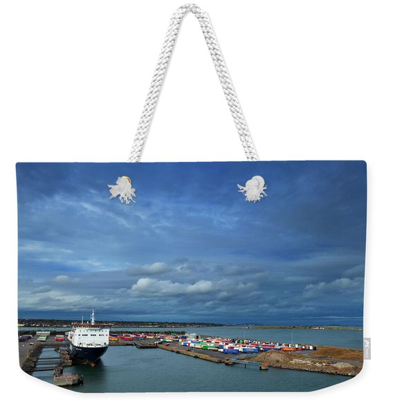 Container Docks At The Mouth Weekender Tote Bag