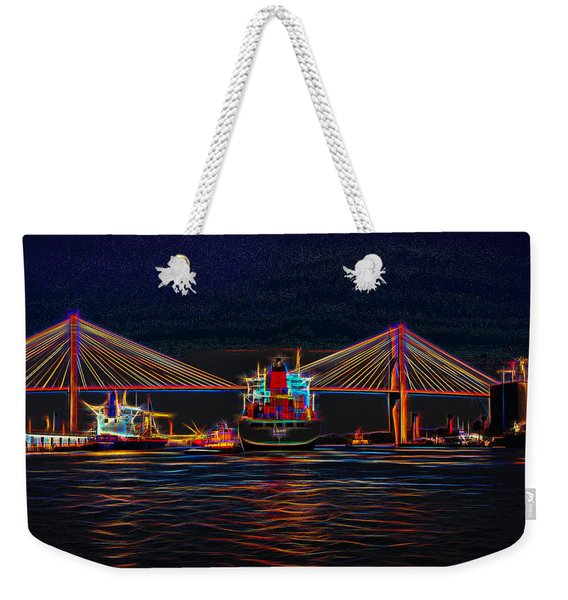 Container Ship Arriving At Savannah Weekender Tote Bag