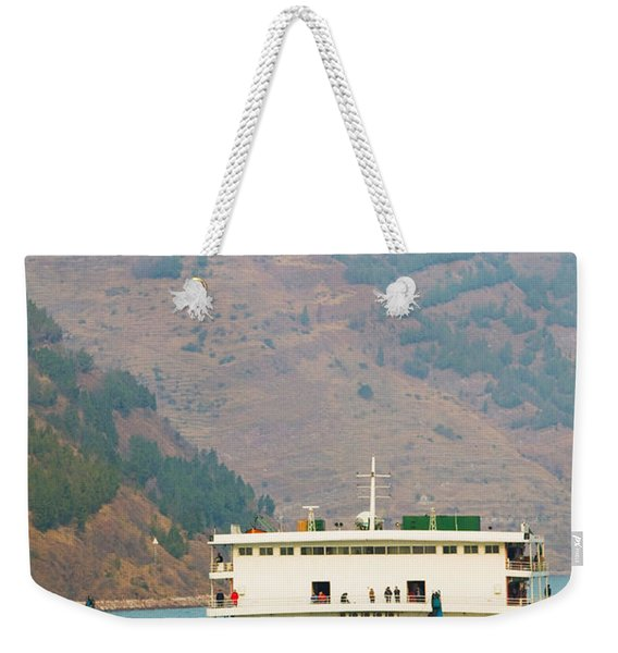Container Ship In The River Weekender Tote Bag