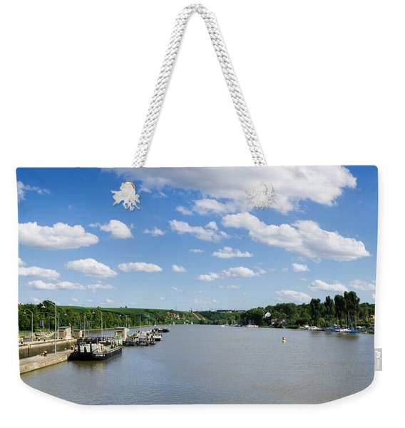 Container Ships At A Canal Lock, Neckar Weekender Tote Bag