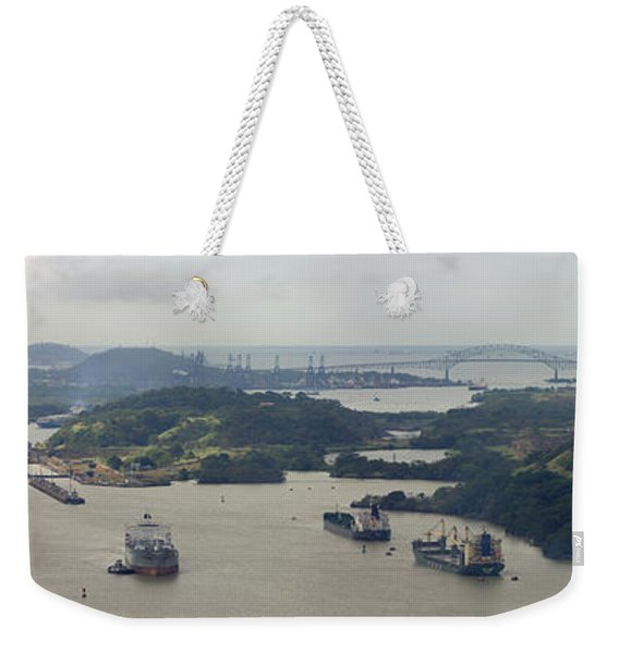 Container Ships In A Canal, Miraflores Weekender Tote Bag
