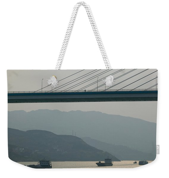 Container Ships Passing A Newly Weekender Tote Bag
