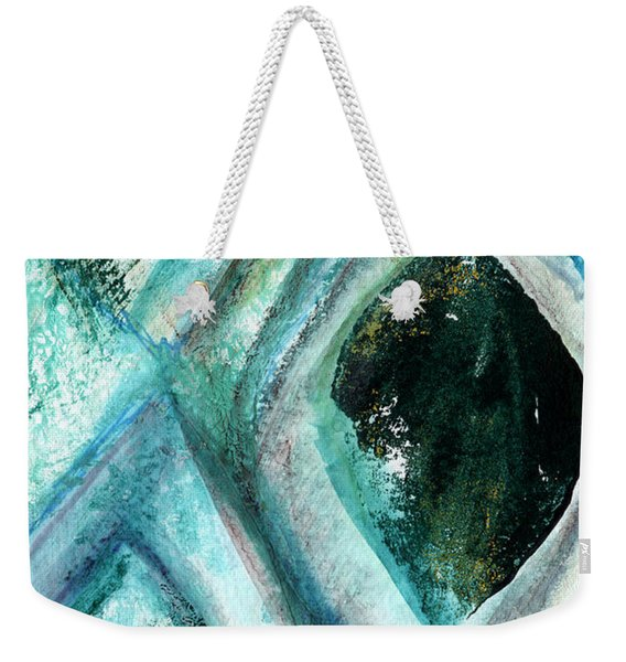 Contemporary Abstract- Teal Drops Weekender Tote Bag
