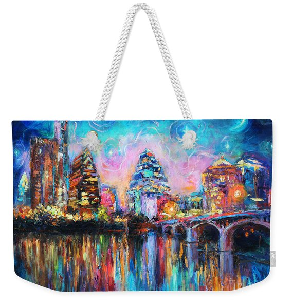 Contemporary Downtown Austin Art Painting Night Skyline Cityscape Painting Texas Weekender Tote Bag