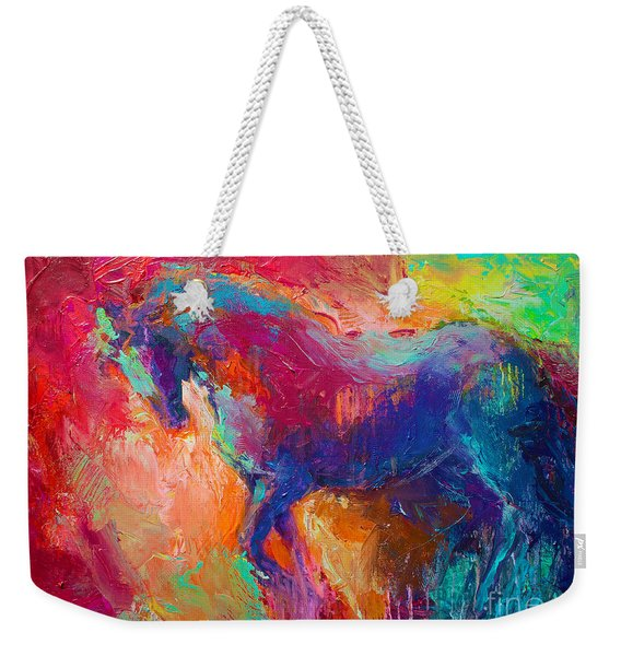 Contemporary Vibrant Horse Painting Weekender Tote Bag