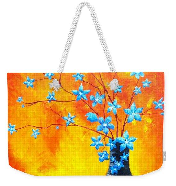 Cool Blue On Fire Weekender Tote Bag