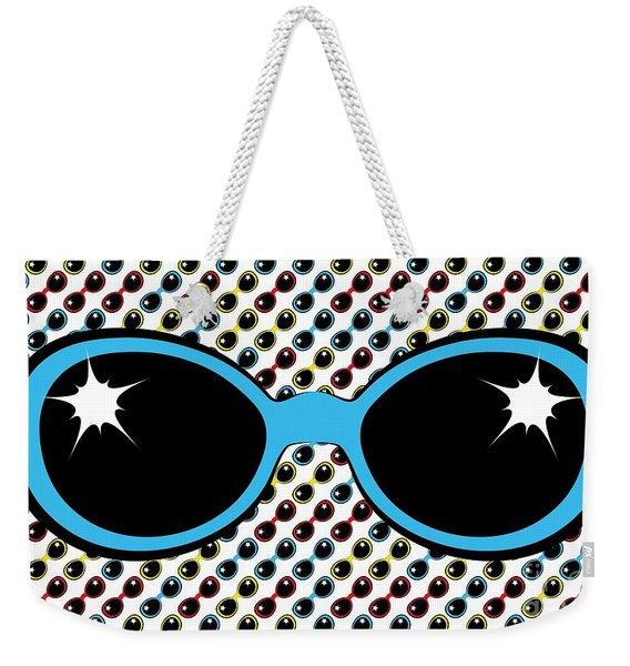 Cool Retro Blue Sunglasses Weekender Tote Bag